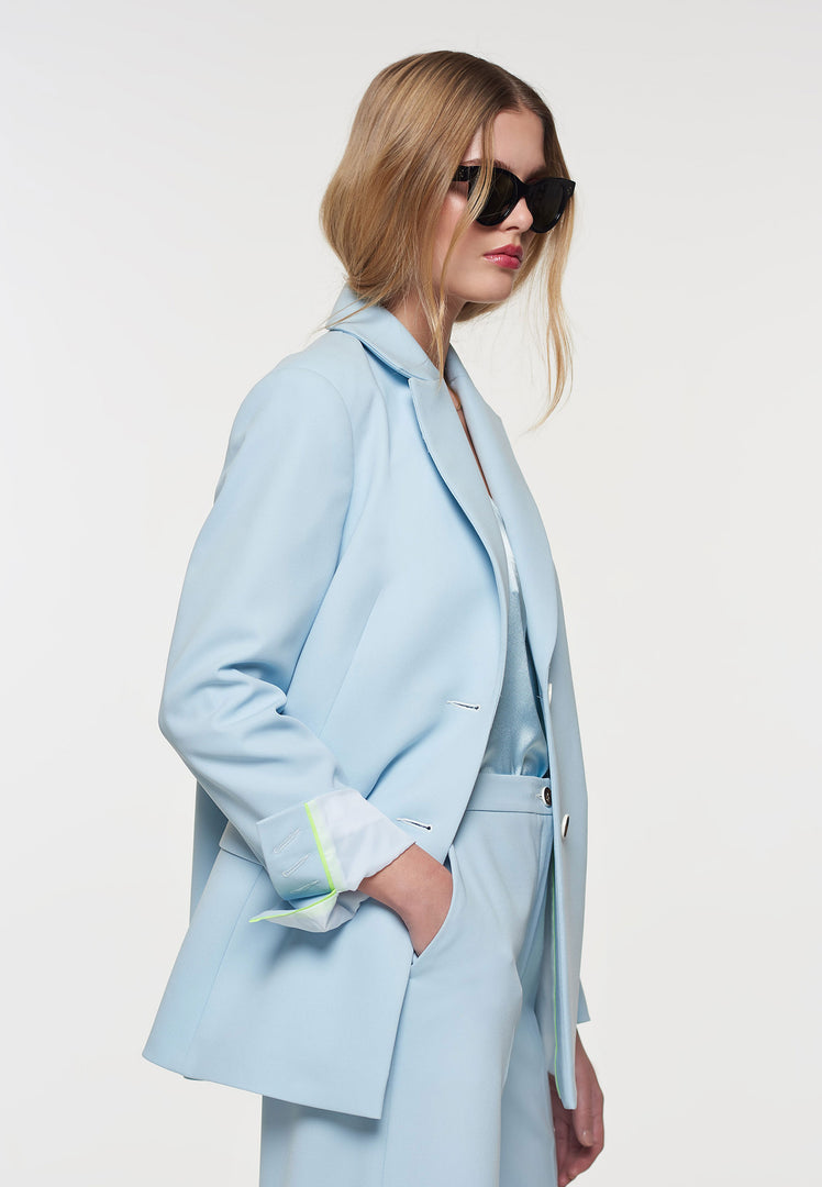 Crepe Button Back Blazer