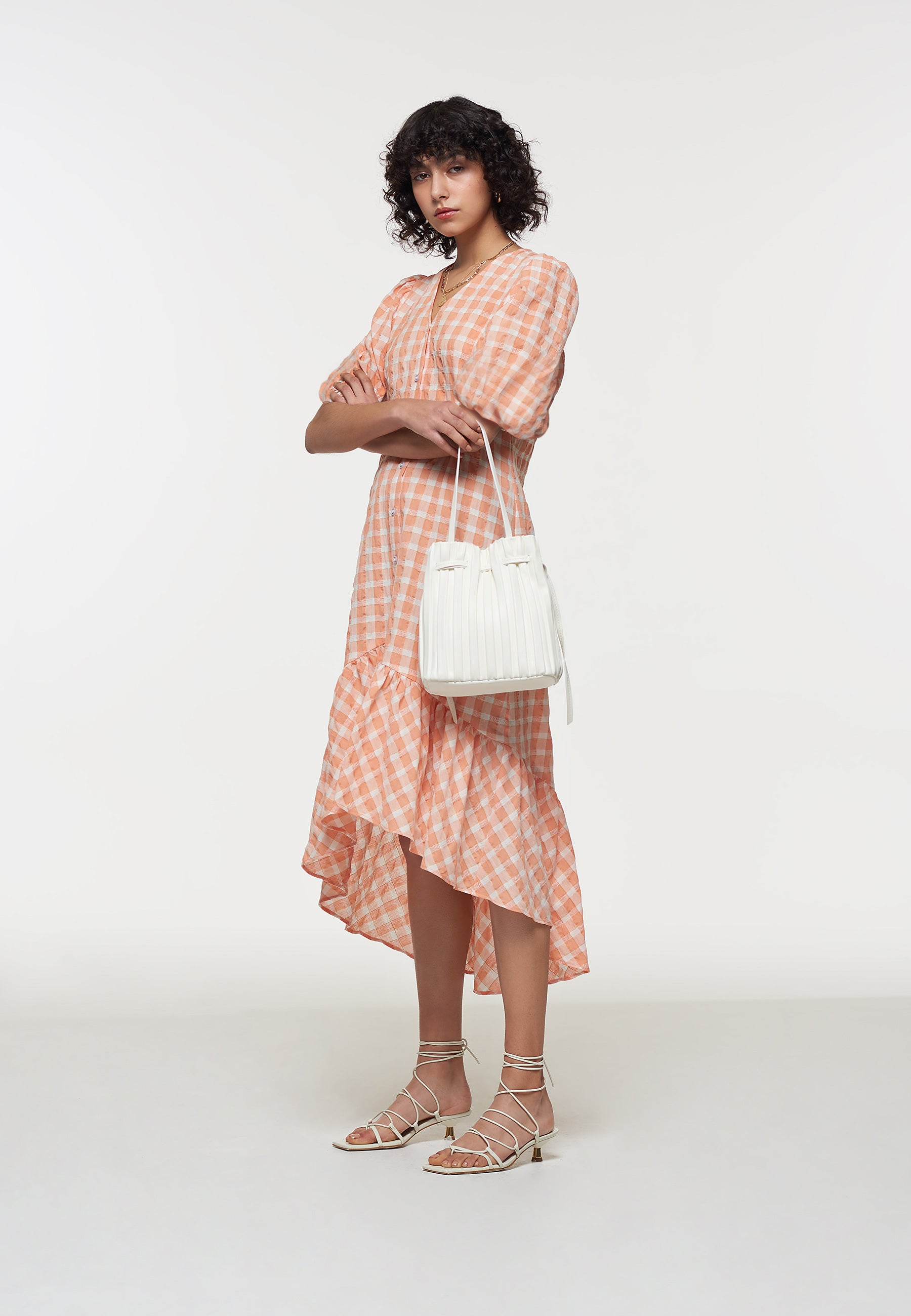 Load image into Gallery viewer, Apricot Gingham Puff Sleeve Dess