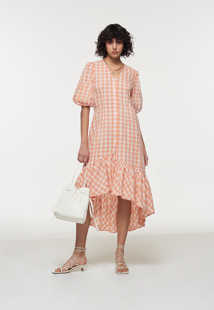 Apricot Gingham Puff Sleeve Dress