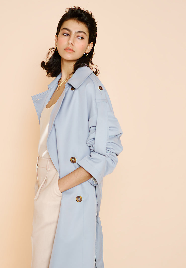 Blue Oversized Tab Sleeve Trench