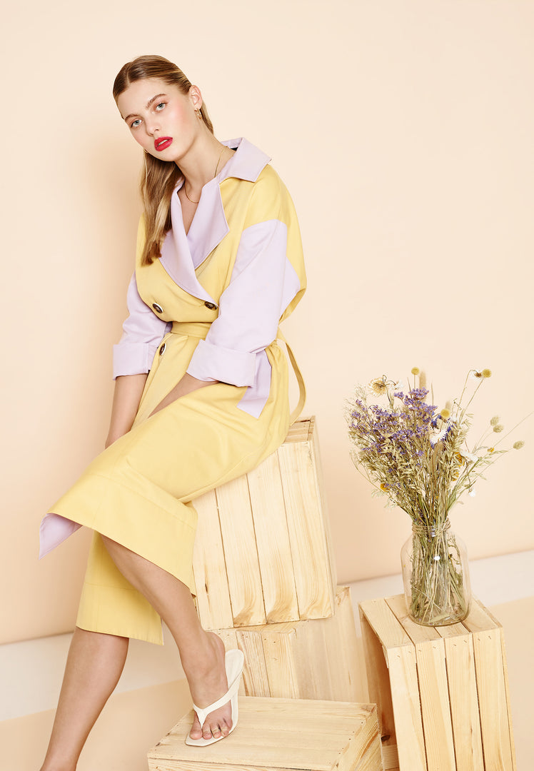 Pastel Colour Block Trench