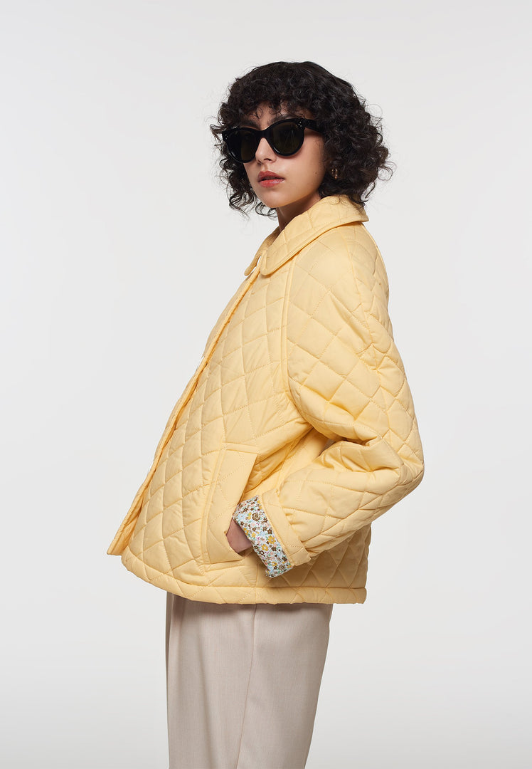 Palones Yellow Short Quilted Car Coat