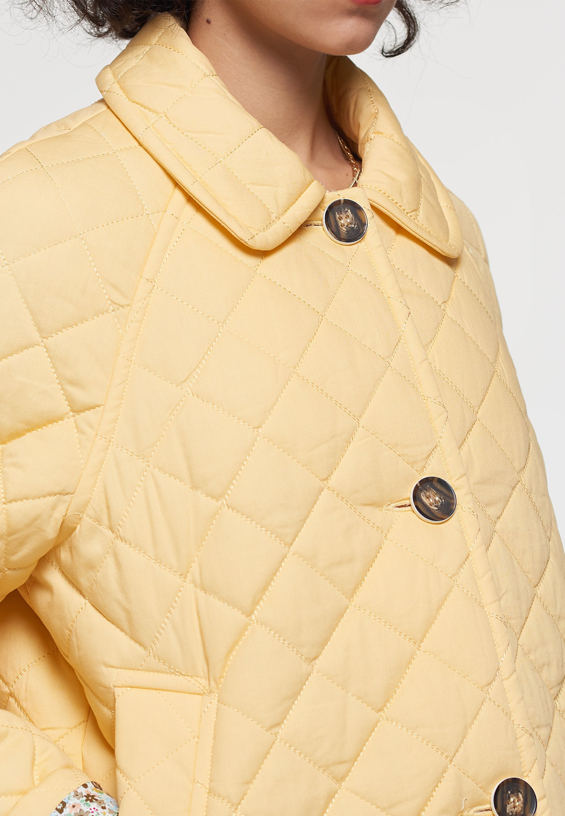 Load image into Gallery viewer, Palones Yellow Short Quilted Car Coat