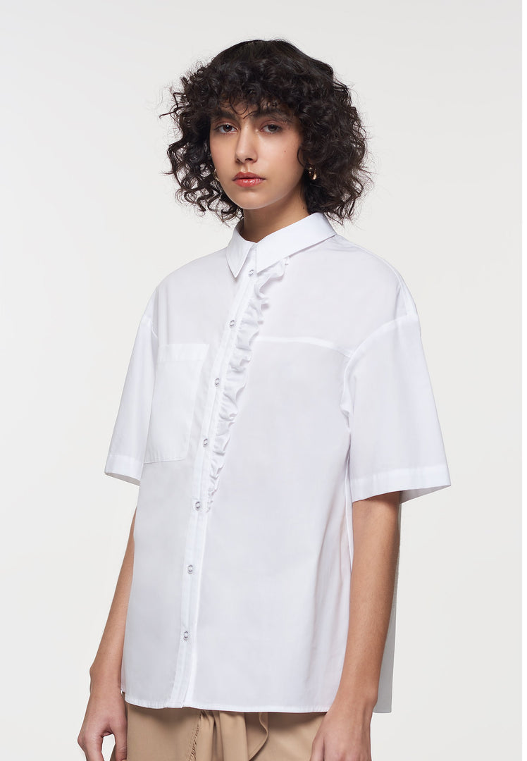 Palones White Cotton Ruffle Poplin Shirt