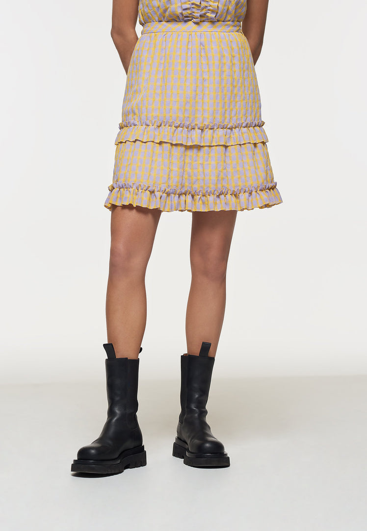 Palones Yellow and Lilac Check Ruffle Mini Skirt