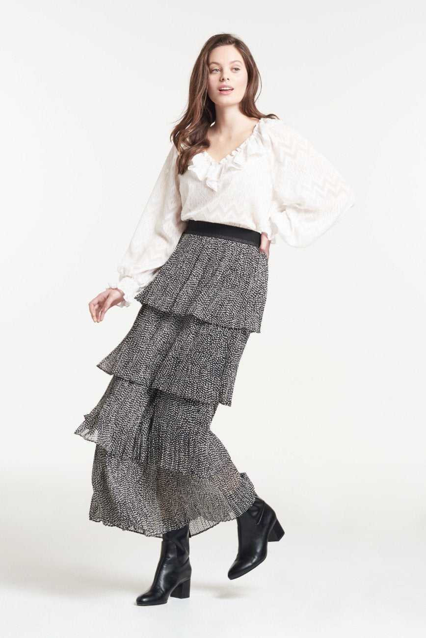 Load image into Gallery viewer, Palones Debbie Pleat Spot Ruffle Skirt In Black and White