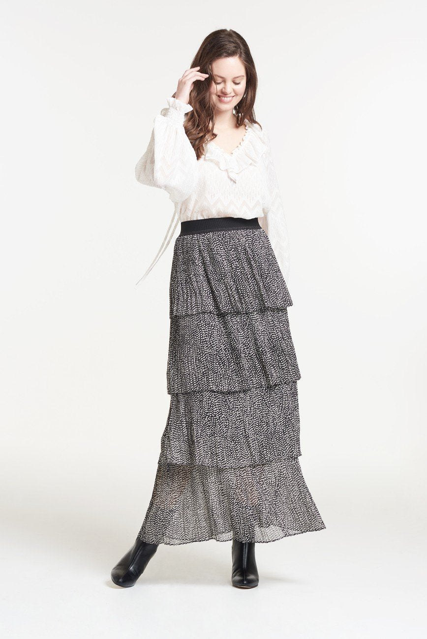 Palones Debbie Pleat Spot Ruffle Skirt In Black and White