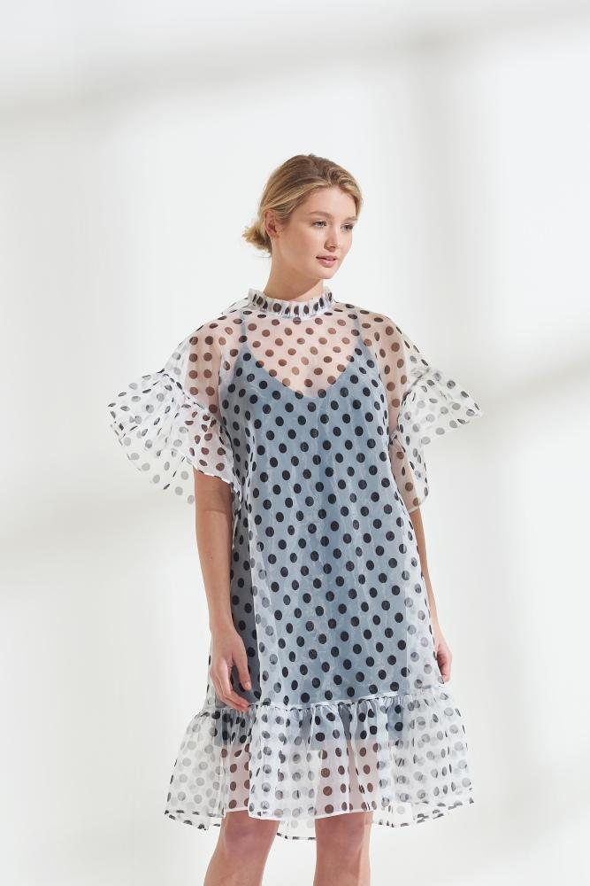 Load image into Gallery viewer, Palones Chelsea Spot Organza Ruffle Dress