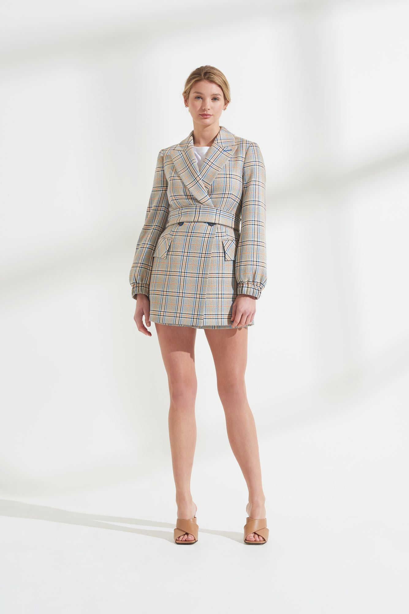 Load image into Gallery viewer, Palones Hoxton Check Short Belted Blazer Playsuit