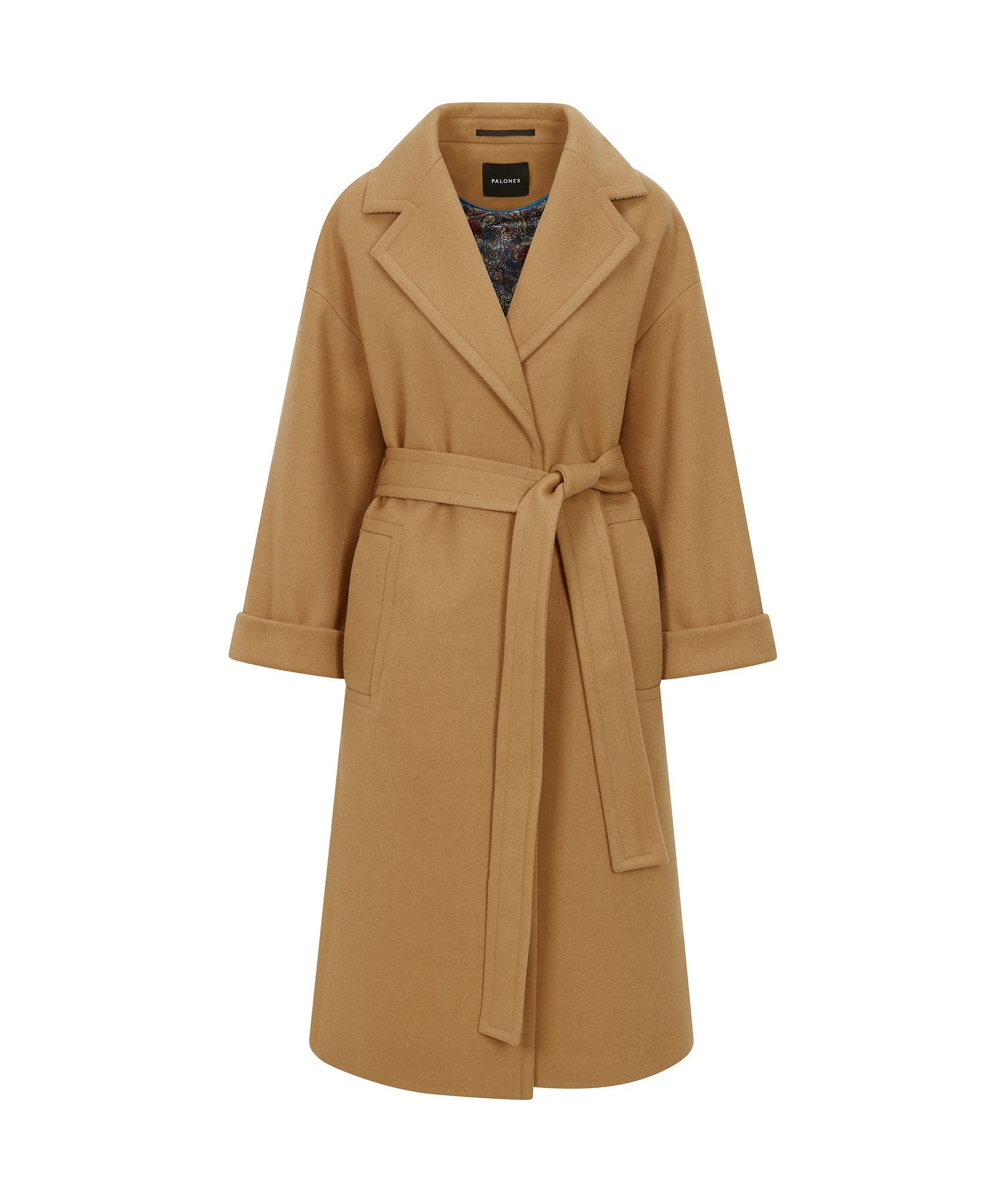 Load image into Gallery viewer, Palones Topstitch Belted Robe Coat Tan