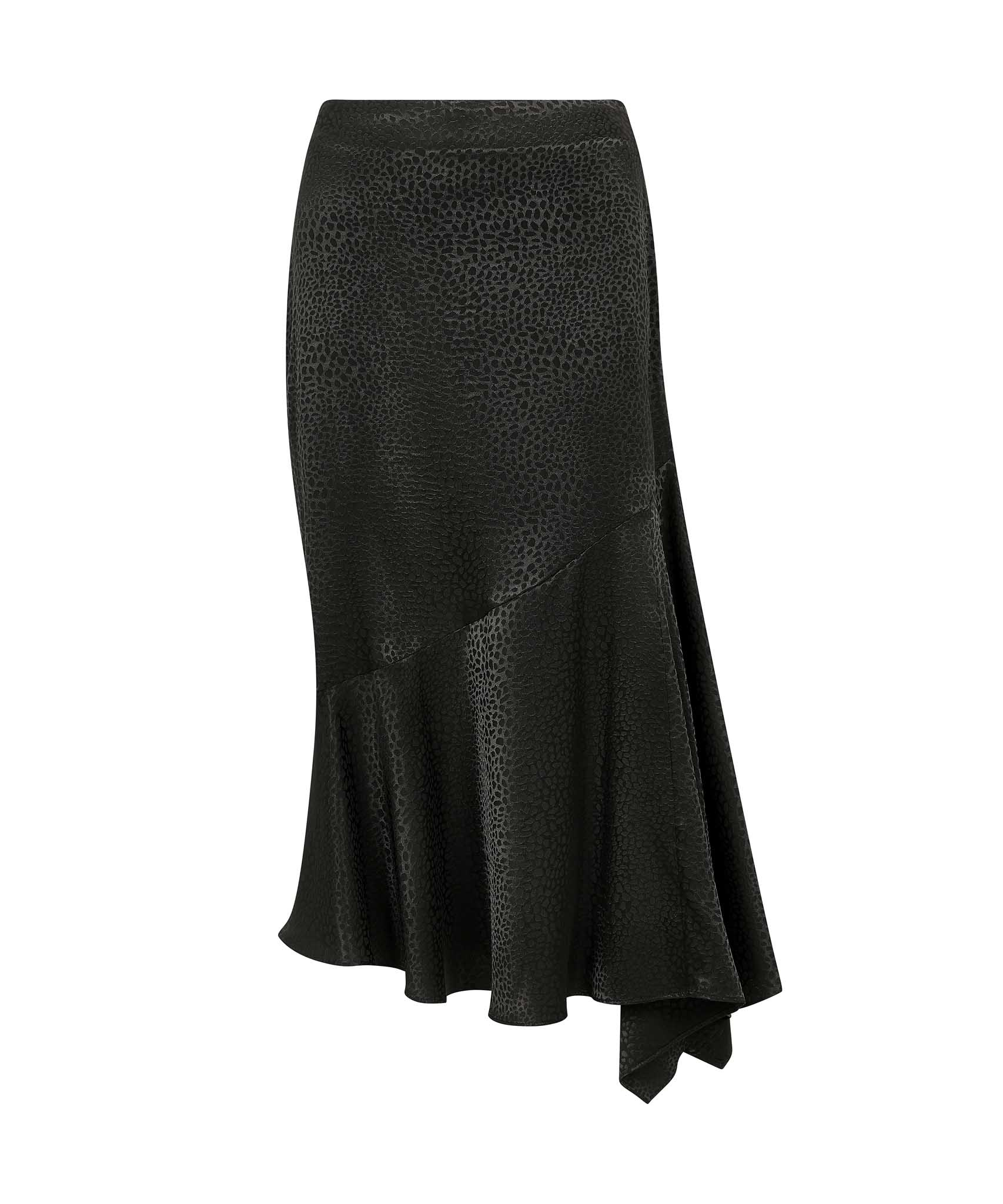 Load image into Gallery viewer, Palones Black Asymmetric Satin Skirt