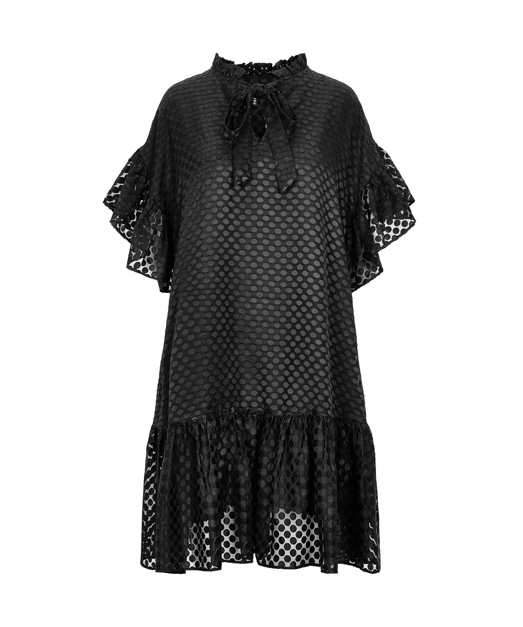 Palones Black Spot Mesh Ruffle Detail Dress