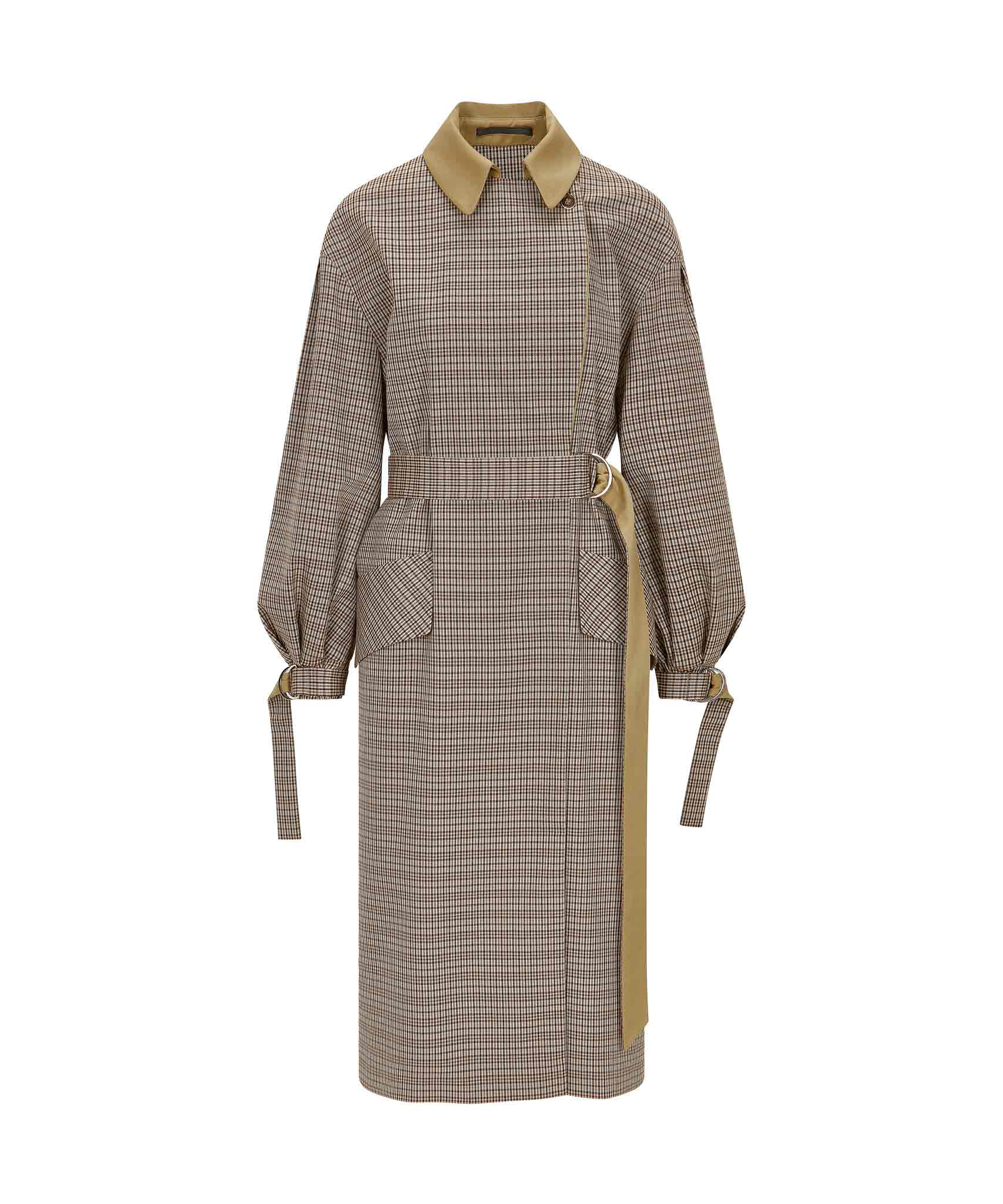 Palones Puff Sleeve Check Trench Coat