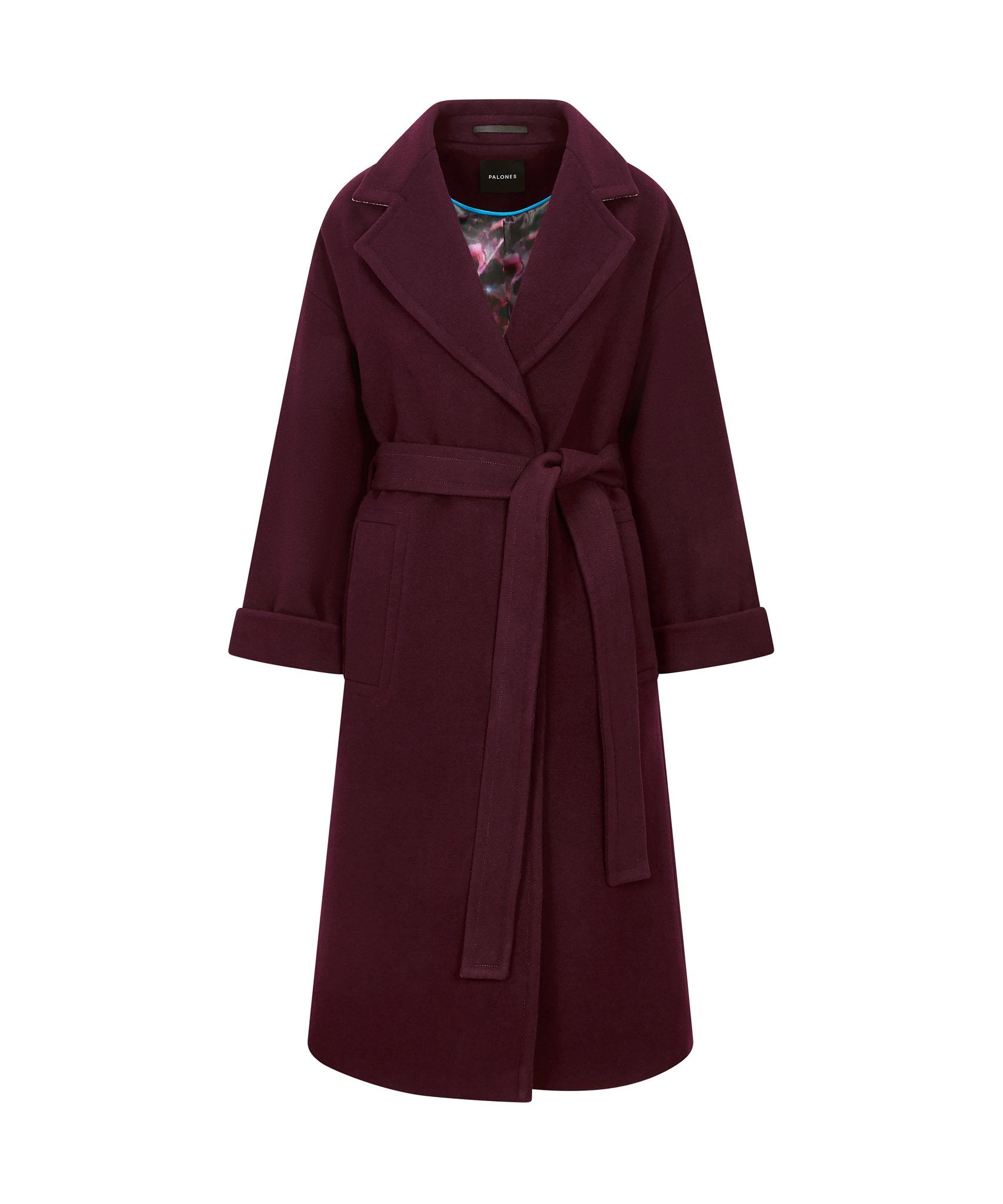 Load image into Gallery viewer, Palones Topstitch Belted Robe Coat Wine