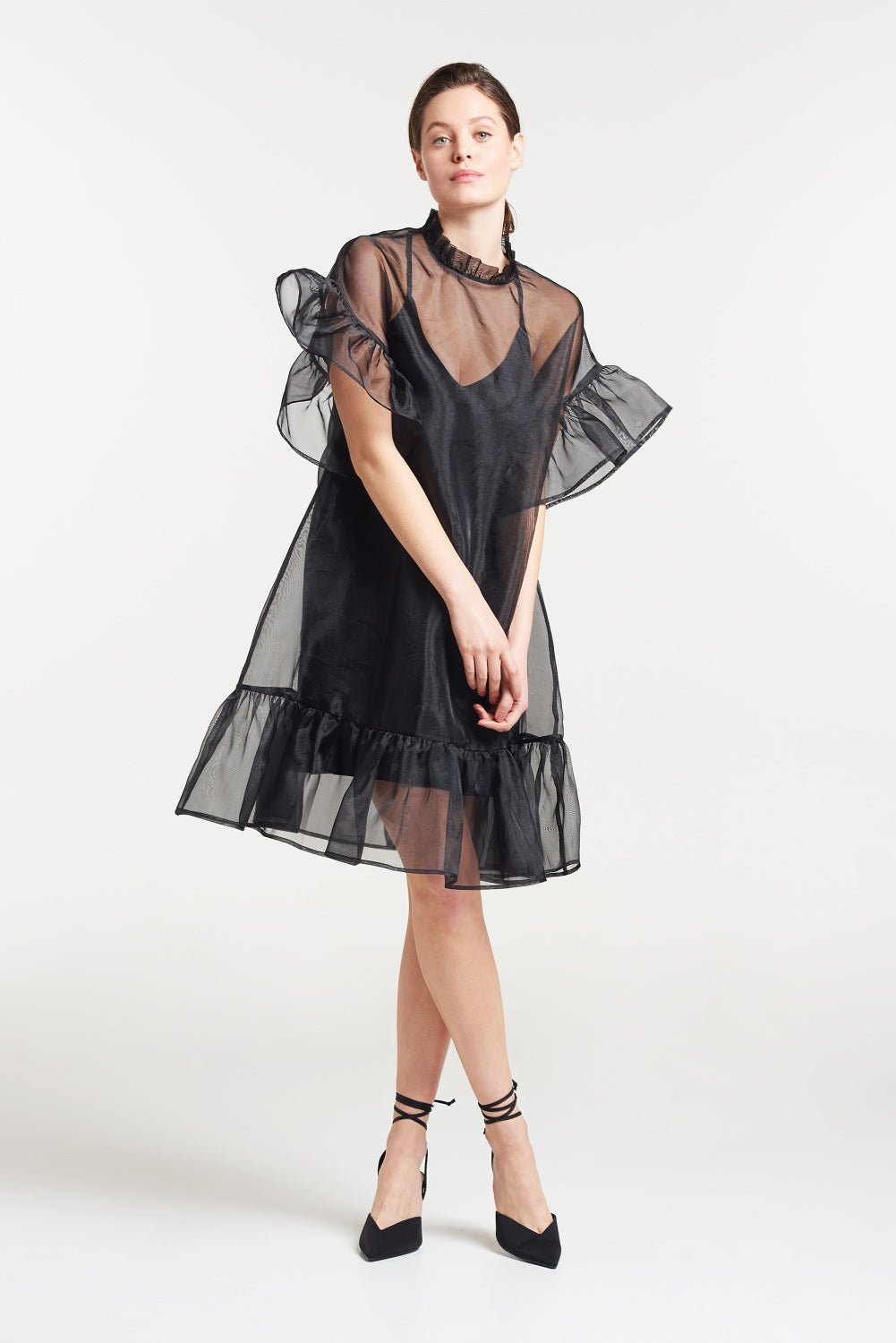 Load image into Gallery viewer, Palones Black Carnaby Organza Ruffle Dress