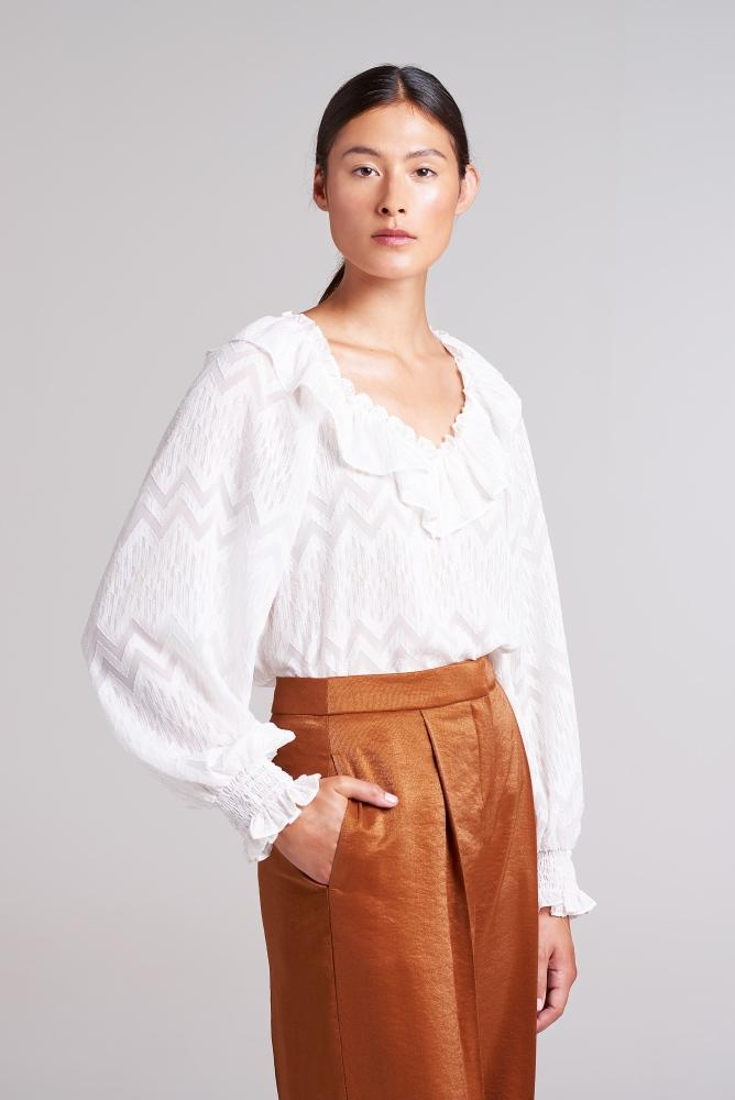 Palones Ivory Covent Garden Ruffle Collar Blouse