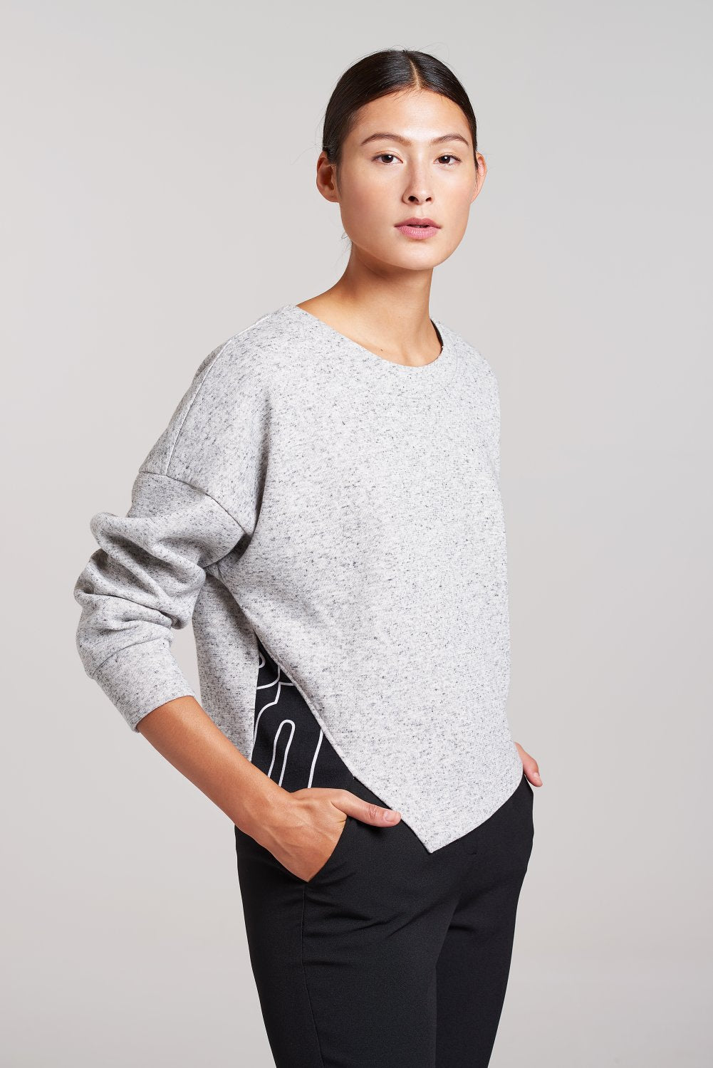 Load image into Gallery viewer, Palones Grey Crop Sweat with Self Scarf