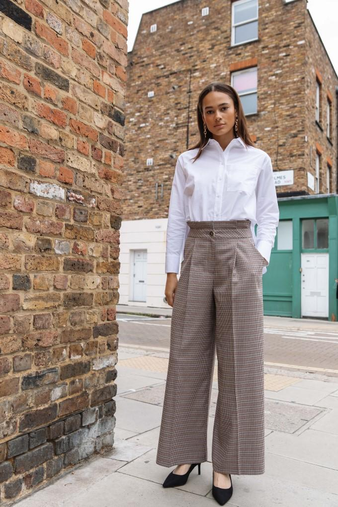 Palones Check Paperbag Wide Leg Trouser