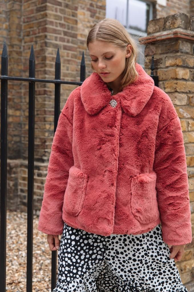 Palones Pink Crop Fur Coat