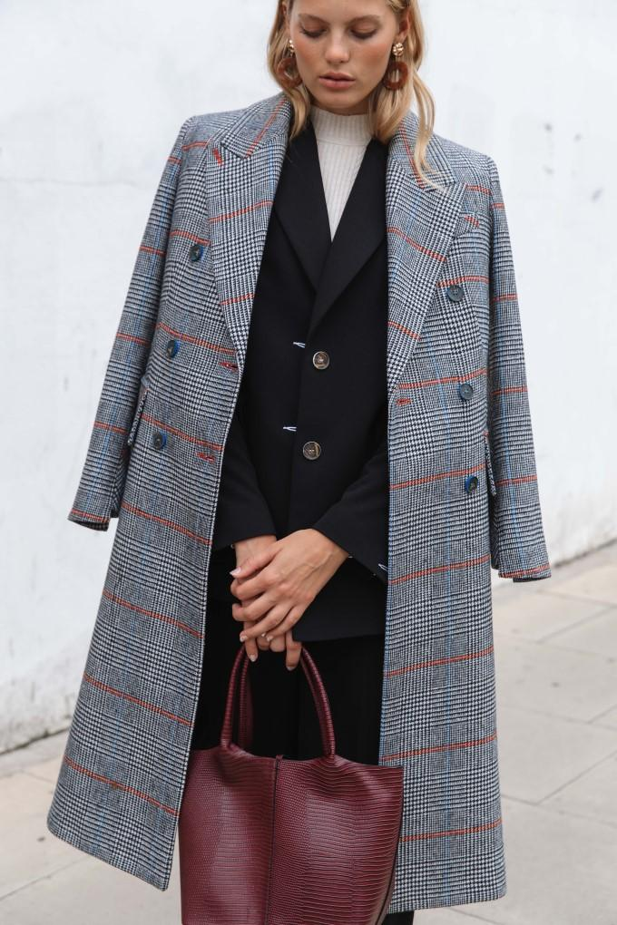 Palones Double Breasted Check City Coat