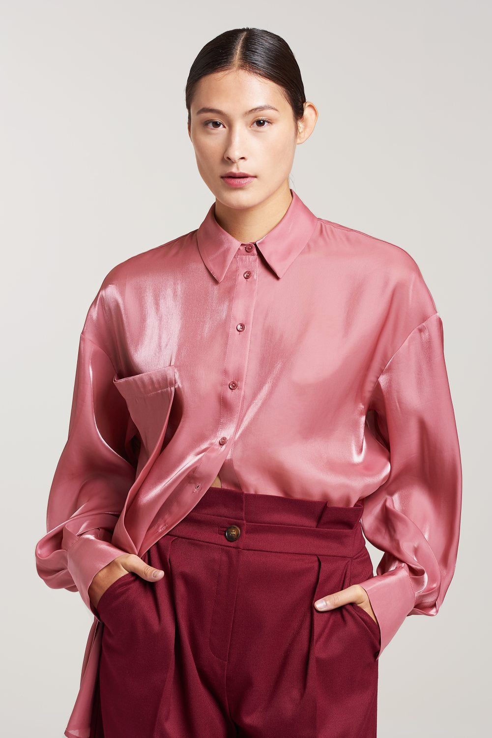 Load image into Gallery viewer, Palones Dusty Pink Debbie Organza Oversized Shirt