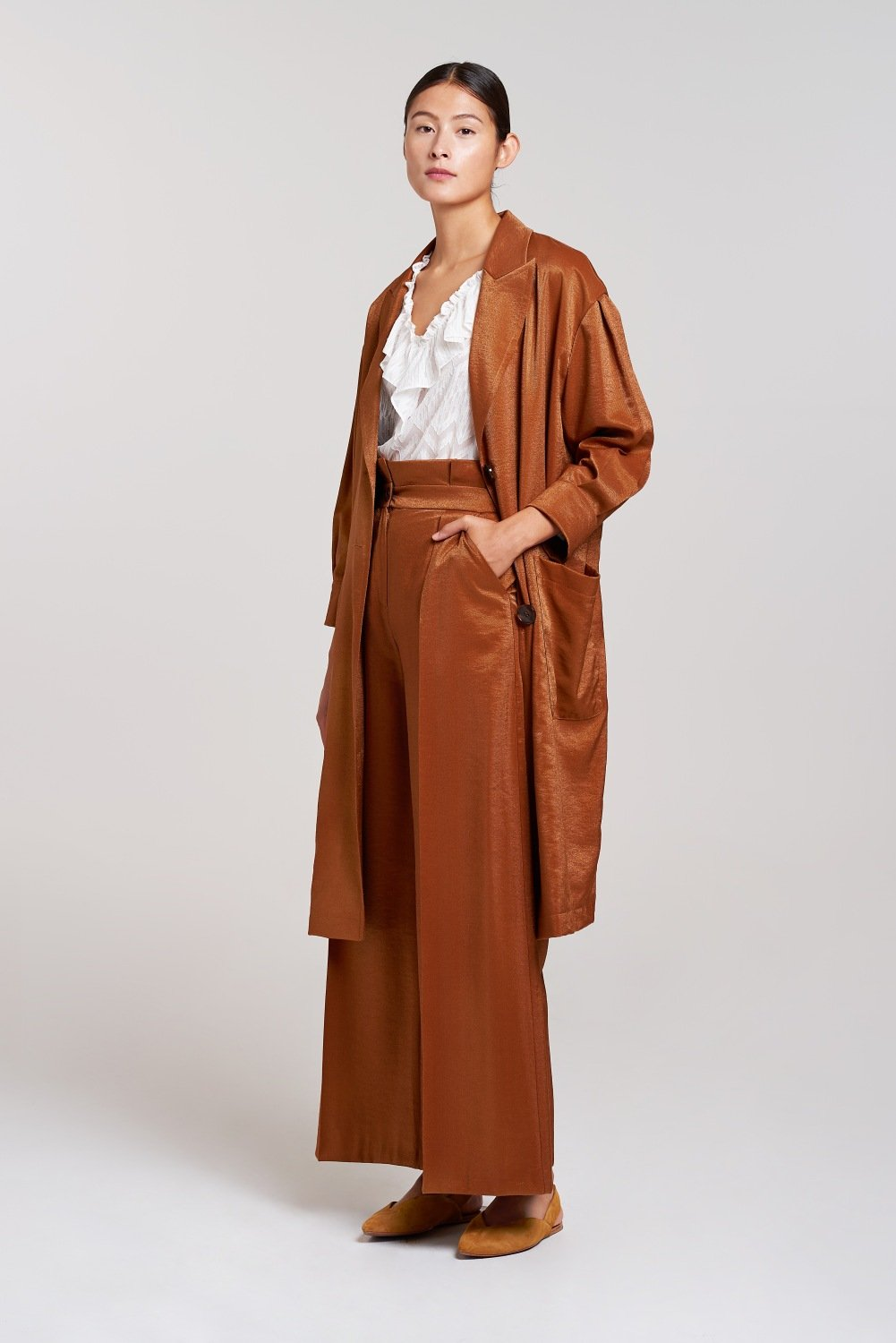 Palones Satin Twill Dulwich Sepia Paper Bag Trouser