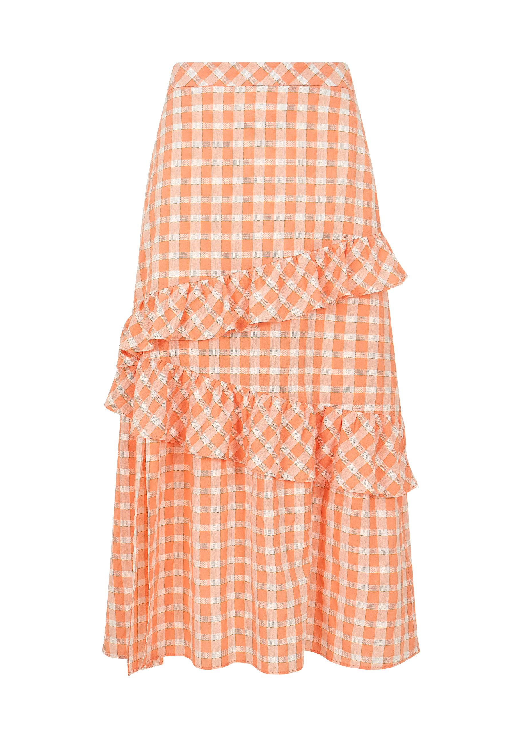 Load image into Gallery viewer, Apricot Gingham Ruffle Midi Skirt