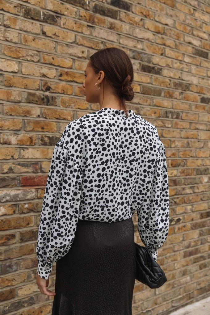 Load image into Gallery viewer, Palones Ivory with Black Spot Tie Neck Blouse