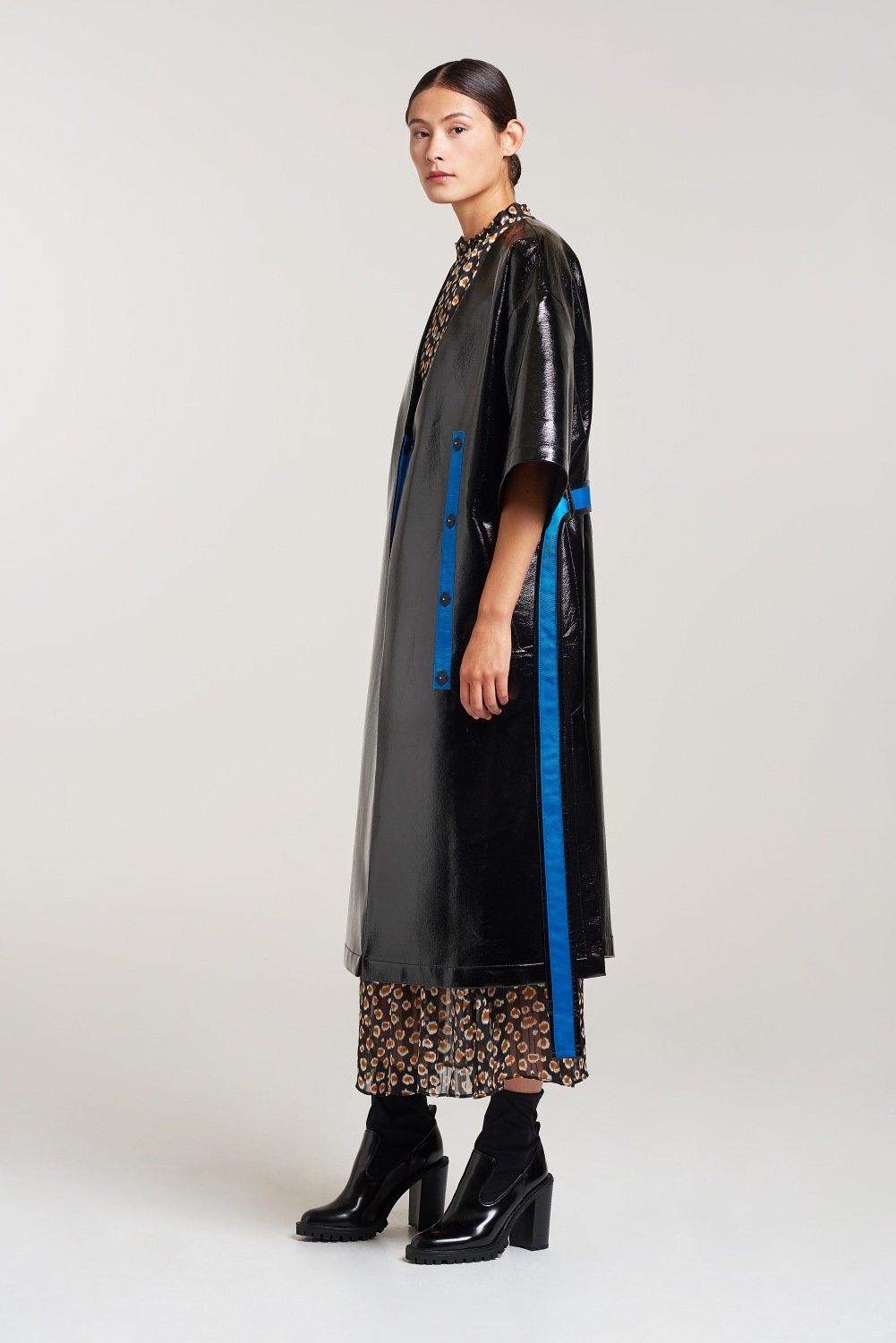 Palones Black Kim-Mono PU Dress Coat