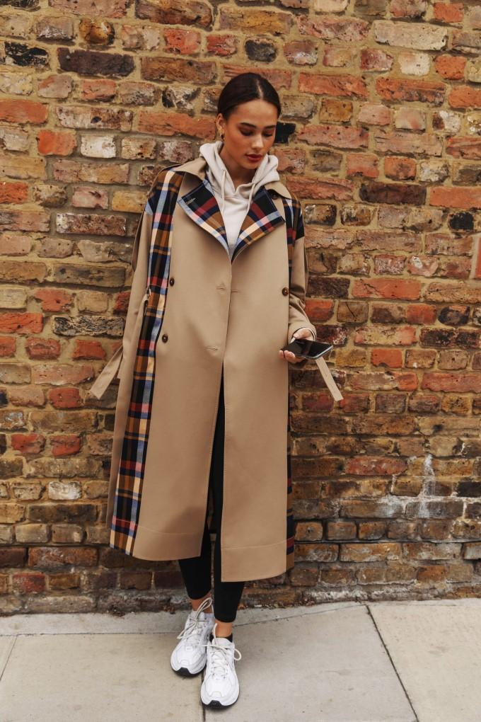Palones Tan and Check Kimmi Deconstructed Trench Coat