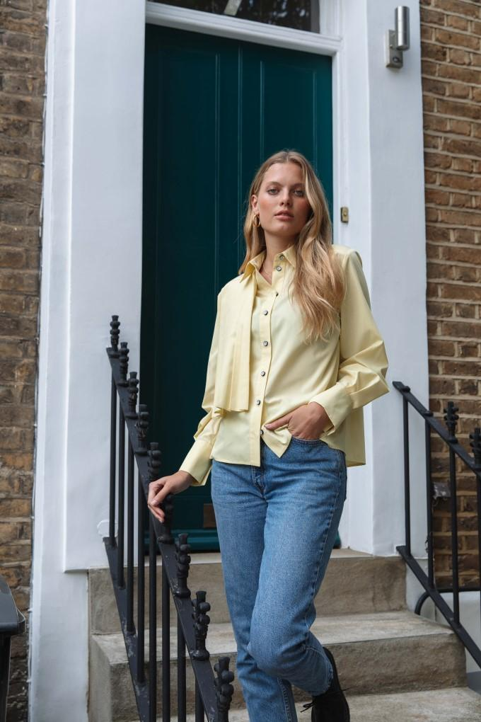 Palones Lemon Pleated Overlay Shirt