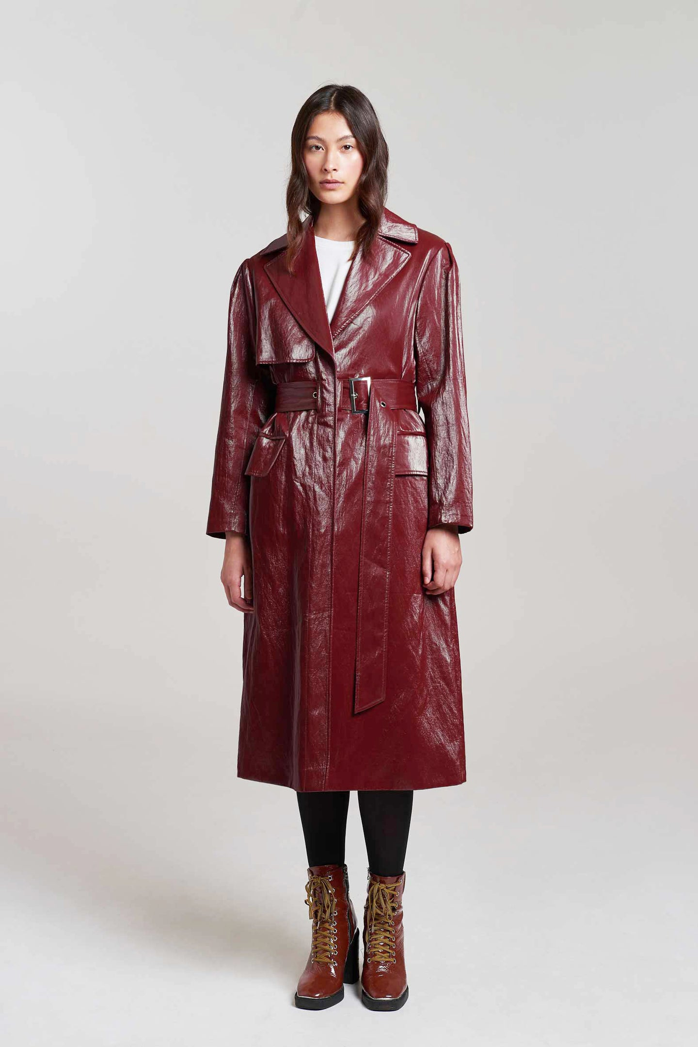 Load image into Gallery viewer, Croydon Burgundy PU Trench Coat