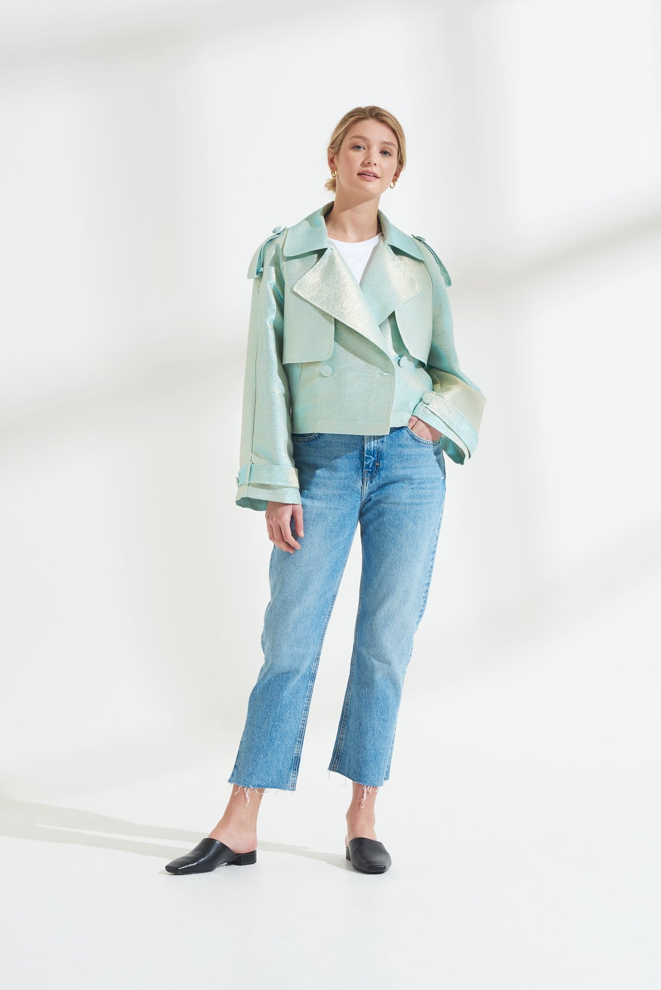 Load image into Gallery viewer, Palones Luna Metalled Crop Mint Trench