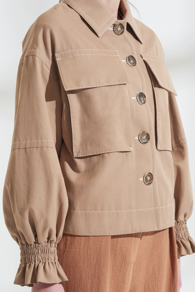 Load image into Gallery viewer, Oversized Frill Cuff Jacket