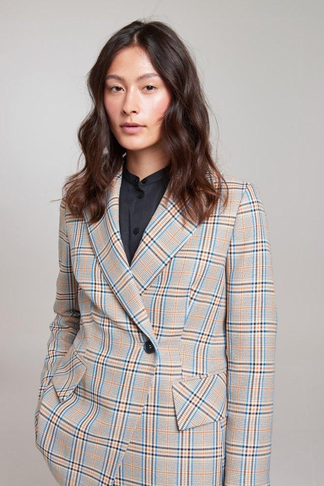Load image into Gallery viewer, Palones Check Hoxton Pleat Back Blazer