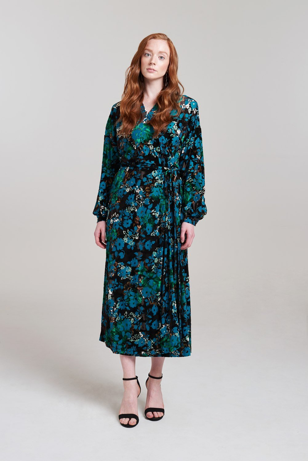 Palones Multicoloured Velvet Lounge Devore Wrap Dress