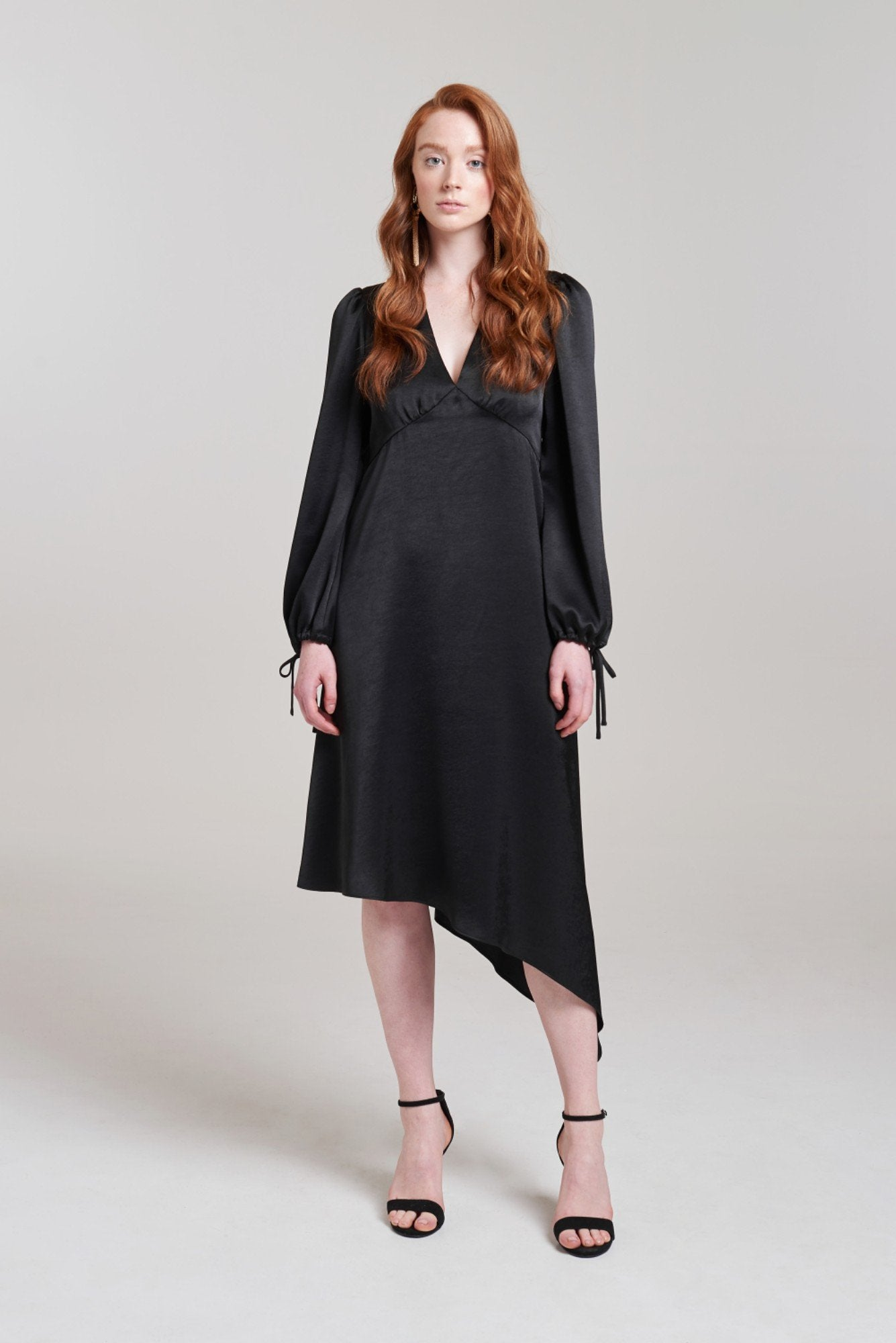 Asymmetric Tie Sleeve Dress