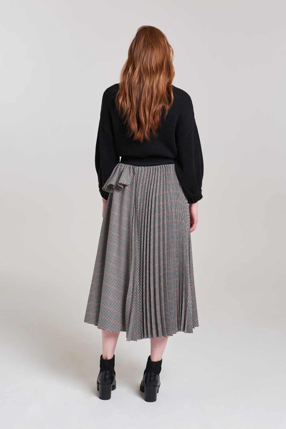 Palones Check Nancy Pleat and Ruffle Skirt
