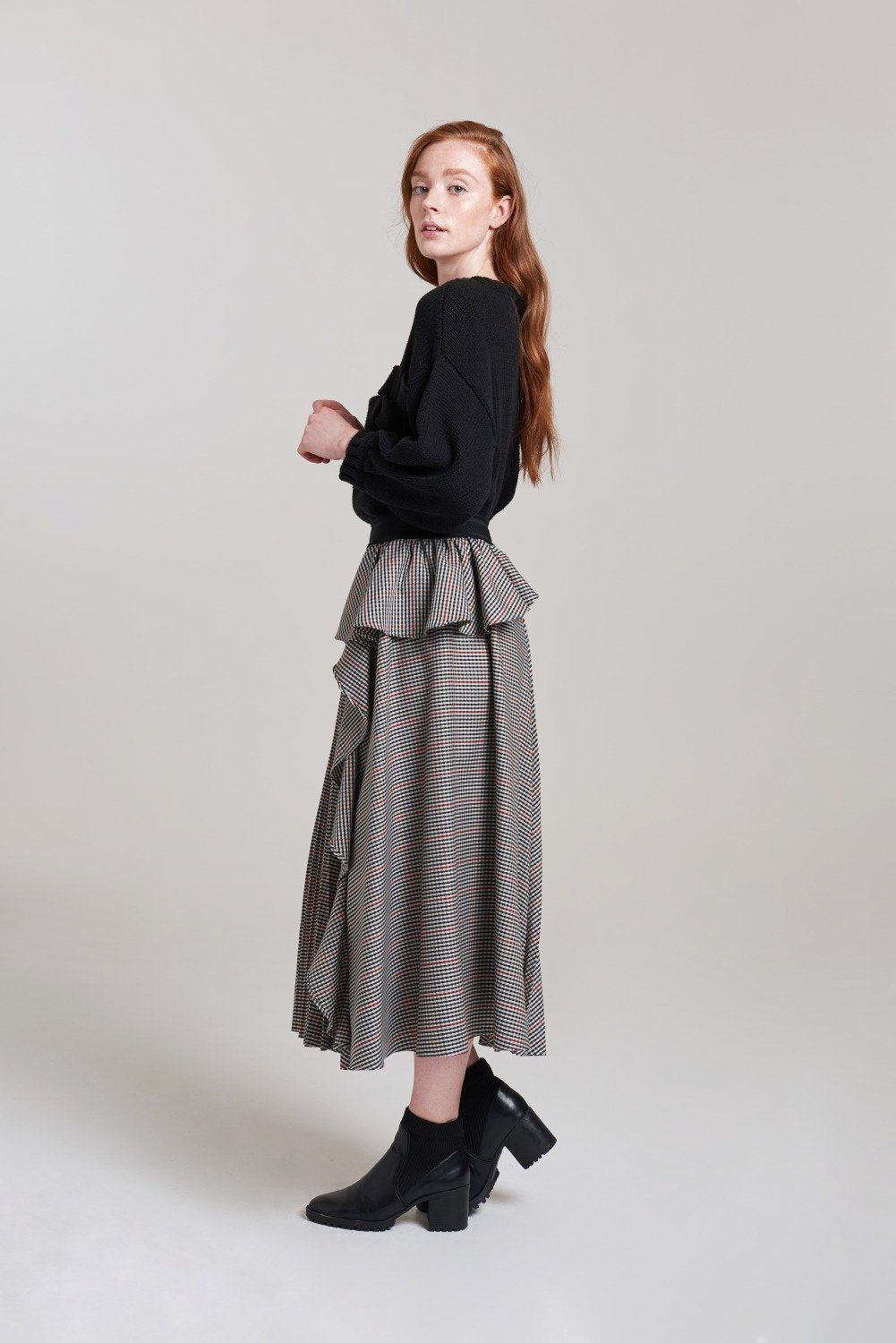 Load image into Gallery viewer, Palones Check Nancy Pleat and Ruffle Skirt