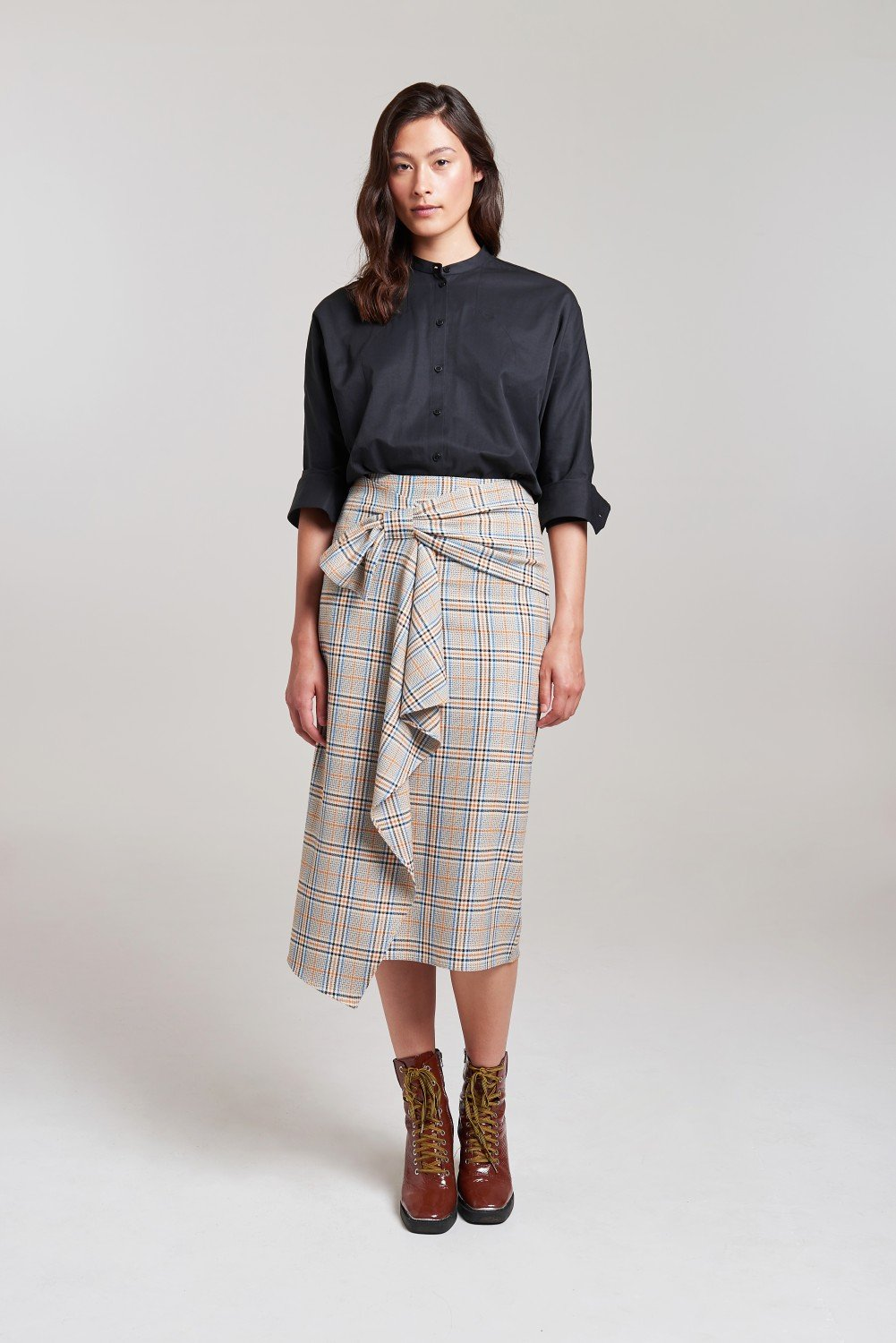 Palones Check Hoxton Bow Midi Skirt