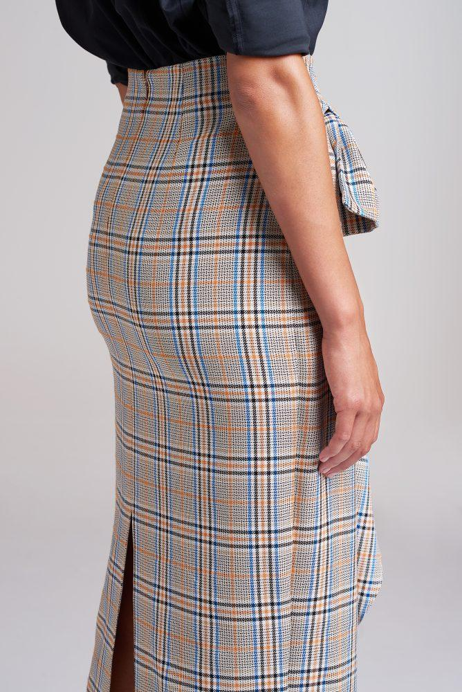 Load image into Gallery viewer, Palones Check Hoxton Bow Midi Skirt
