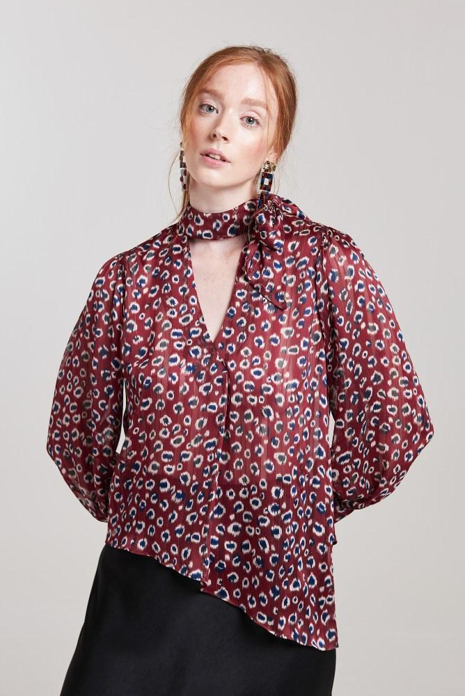 Load image into Gallery viewer, Palones Asymmetric Pussy Bow Blouse