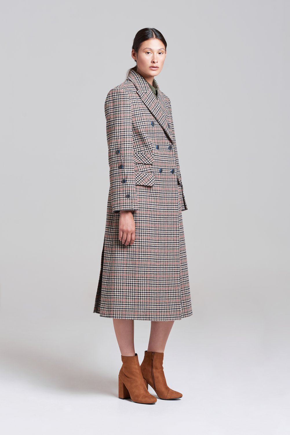 Load image into Gallery viewer, Palones Wool mix Check Kensington City Coat