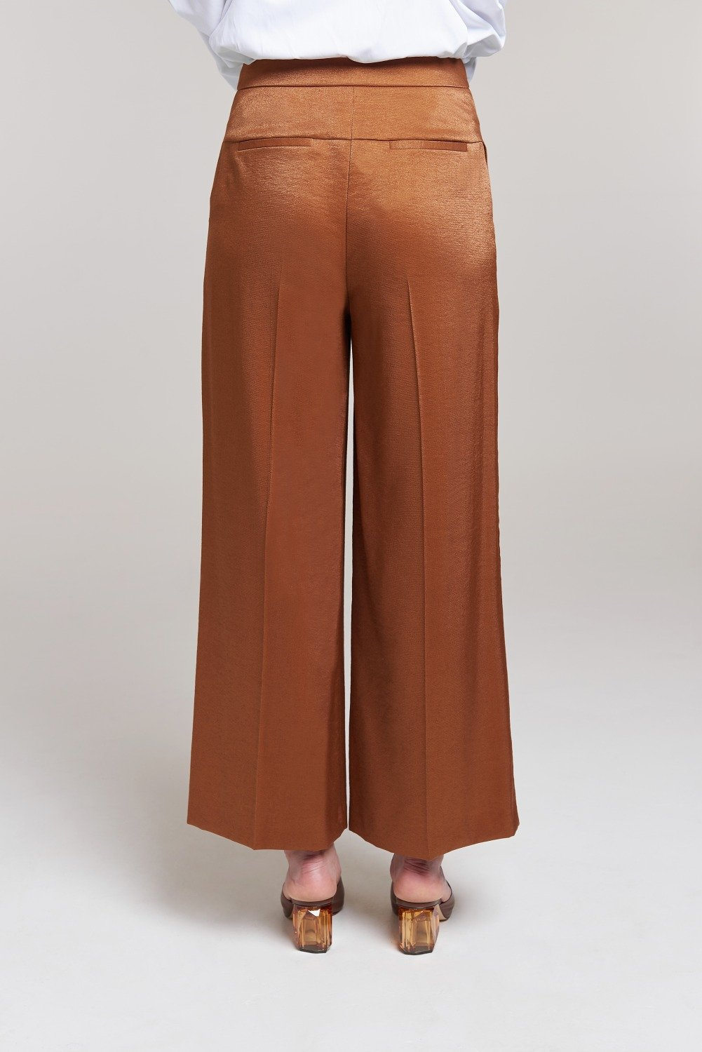 Load image into Gallery viewer, Palones Brown Fluid Wide Leg Trouser