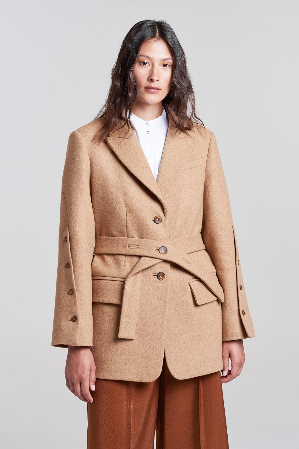 Load image into Gallery viewer, Palones Wool Mix Tan Scarlett Boyfriend Blazer