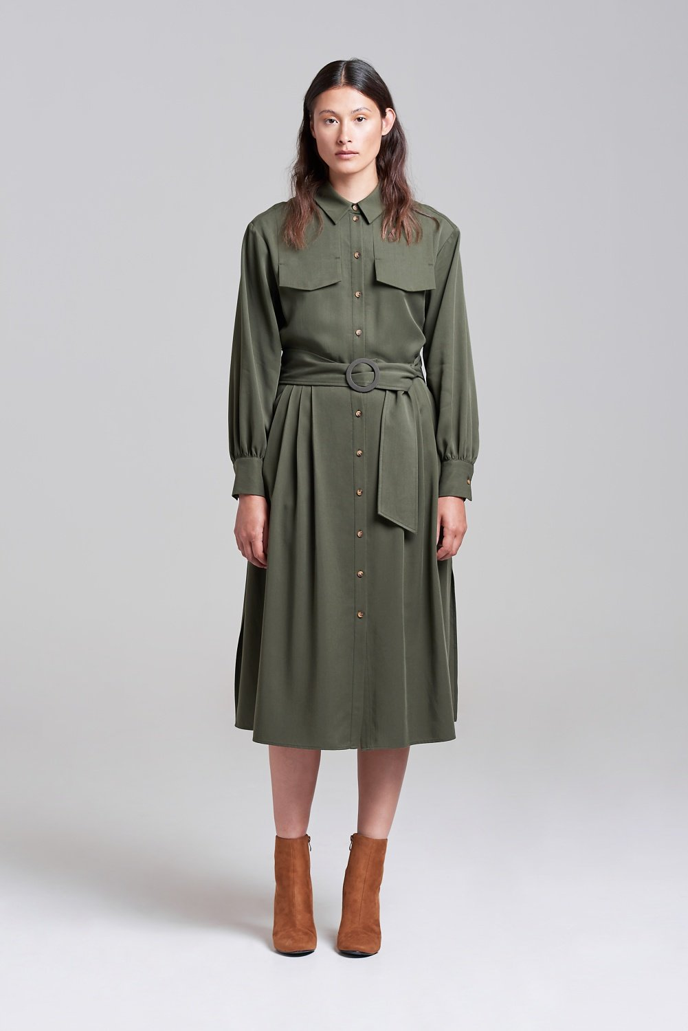 Palones Khaki Pleated Shirt Dress