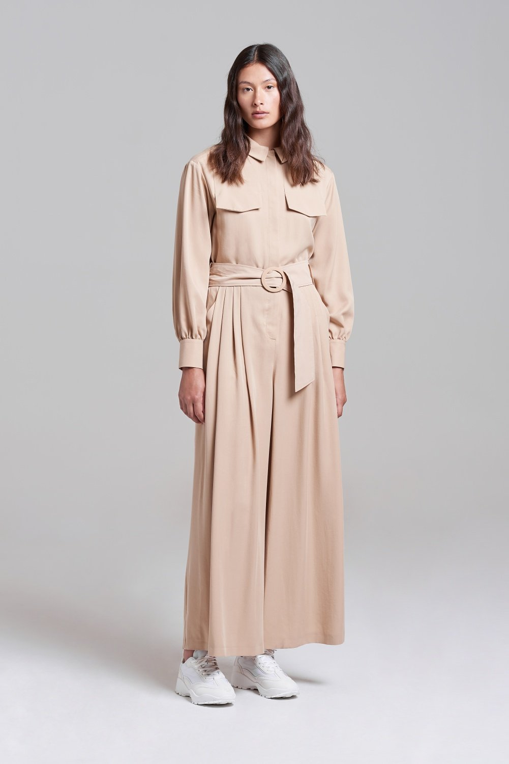Palones Tan Pleated Belted Jumpsuit