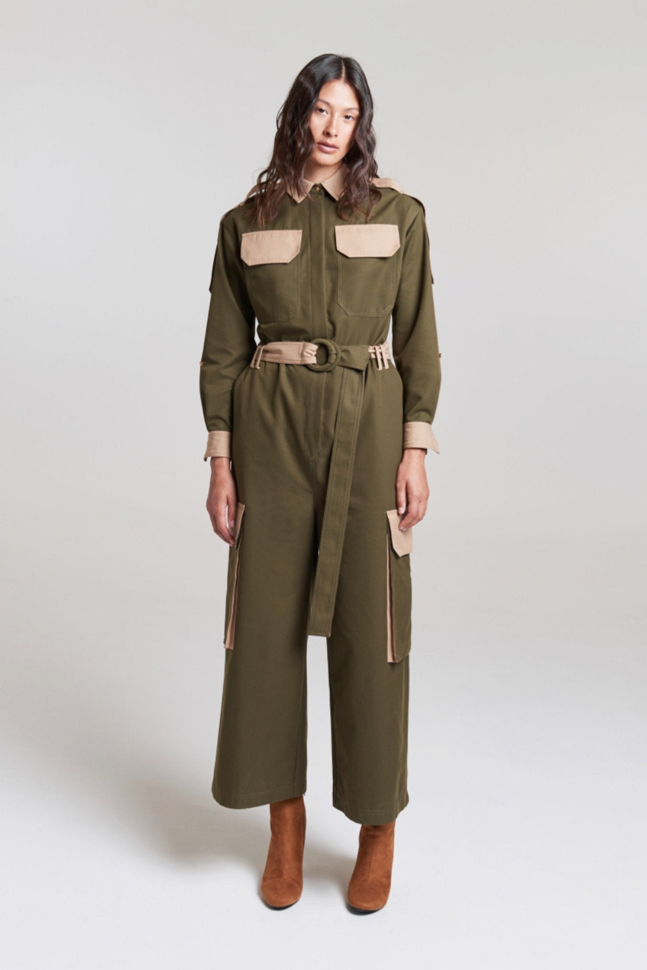 Palones Tan and Khaki Hackney Colour Boilersuit