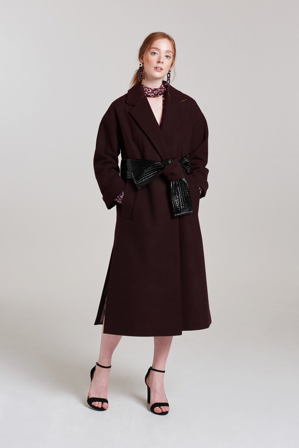 Load image into Gallery viewer, Palones Burgundy Belted Robe Coat