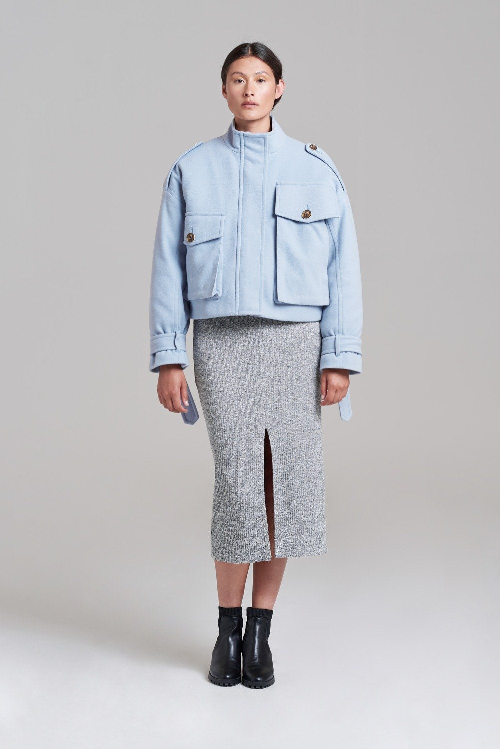 Palones Powder Blue Cropped Oversized Utility Coat